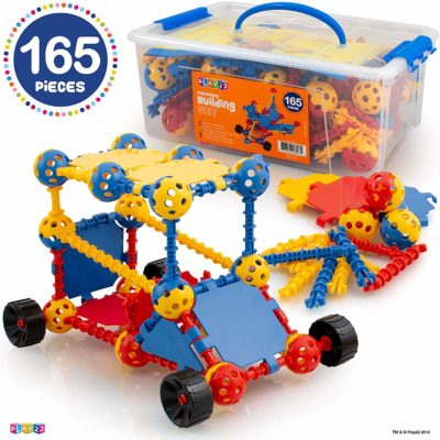 This is an image of a 165 piece building blocks set for kids.