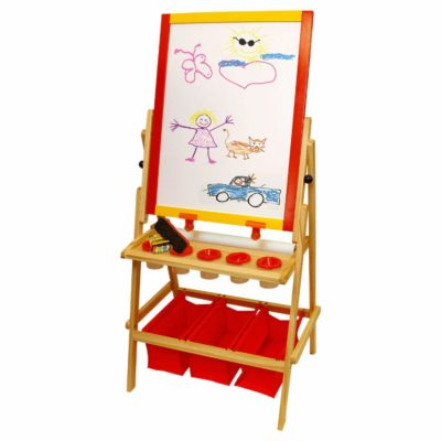 This is an image of a double sided art easel for toddlers.