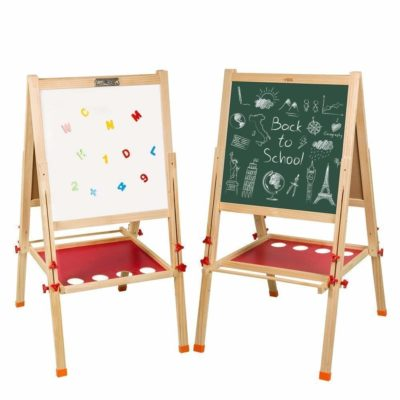 This is an image of a double sided whiteboard and chalkboard easel by Arkmiido.