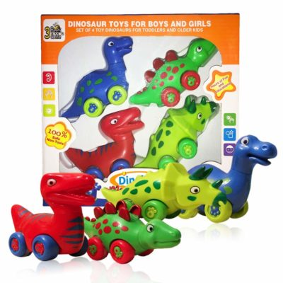 This is an image of a set of 4 dinosaur toy by 3 Bees & Me.