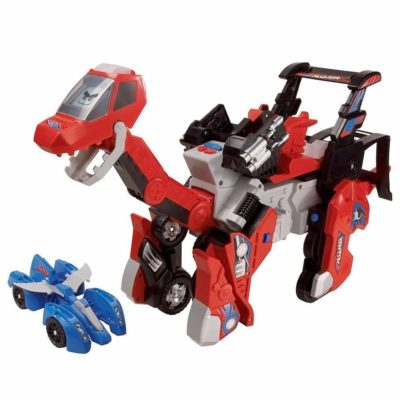 This is an image of a 2 in 1 red switch and go Brachiosaurus dinosaur by VTech.