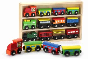 12 Piece Wooden Engines and Train Cars Set