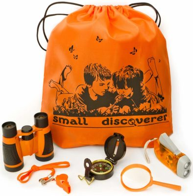 This is an image of a of an outdoor exploration kit for kids.