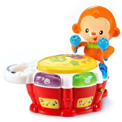 This is an image of a monkey drum toy for toddlers.