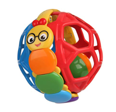 This is an image of a colorful ball rattle toy for babies.
