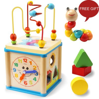 This is an image of an educational wooden bead maze and shape sorter cube for kids.
