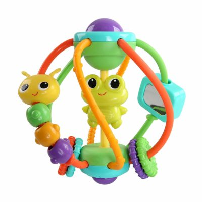 This is an image of a colorful clack and slide ball for babies.