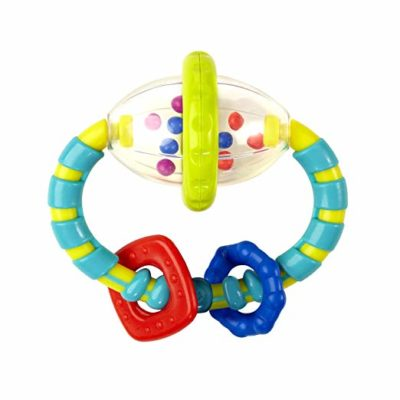 This is an image of a colorful grab and spin rattle toy for babies.
