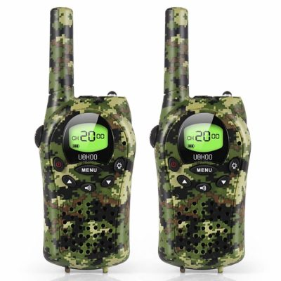 This is an image of a long range camouflage walkie talkie for kids.