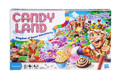 This is an image of a Candy Land board game by Hasbro Gaming designed for 3 year old kids.