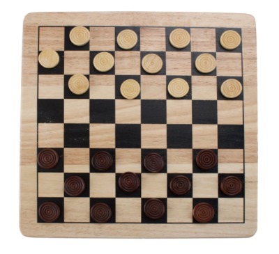 This is an image of a 2 in 1 checkers and tic tac toe board game set.