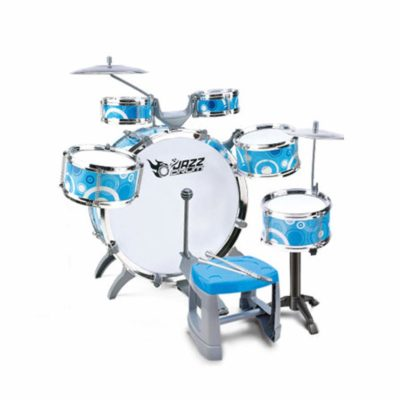 This is an image of a blue beginner's drum set for kids.