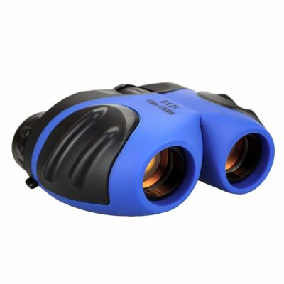 This is an image of a blue compact binoculars for kids.