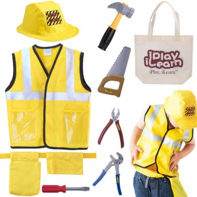This is an image of a yellow engineering costume play kit for kids.