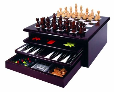This is an image of a deluxe 15 in 1  wood game board for kids.