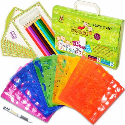 This is an image of a drawing stencils art set for kids.