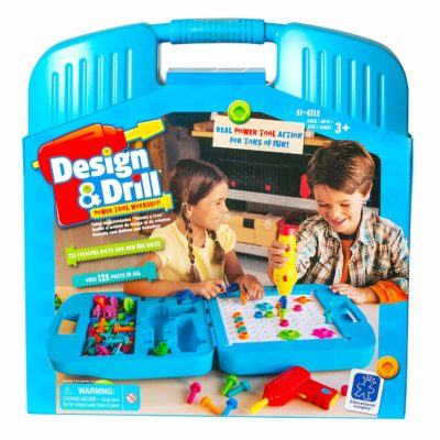 This is an image of a design and drill construction tool kit for kids.