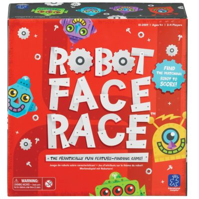 This is an image of a robot face race matching game for kids.