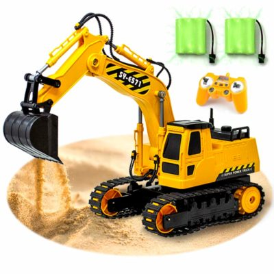 This is an image of a RC excavator toy truck for kids.