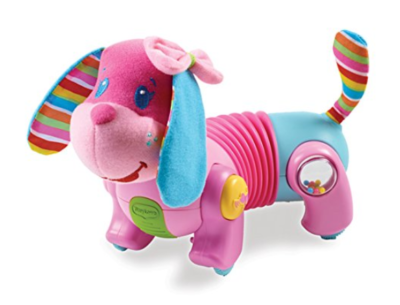 This is an image of a pink electronic dog toy for toddlers.
