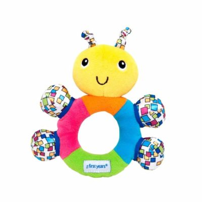 This is an image of a colorful baby rattle toy.