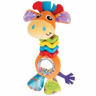 This is an image of a colorful giraffe rattle beads for babies.