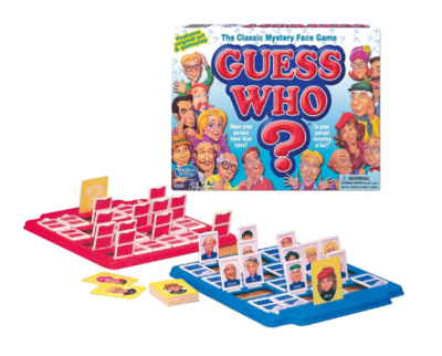 This is an image of a mystery face board game for kids.