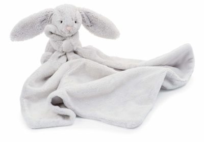 This is an image of a grey bunny blanket for babies.