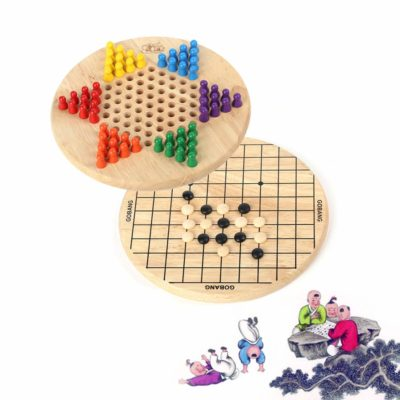 This is an image of a wooden checkers and goobang puzzle board game for kids.