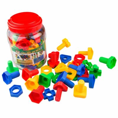 This is an image of a colorful jumbo nuts and bolts for kids.