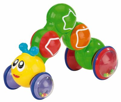 This is an image of a colorful press and go inchworm for toddlers.