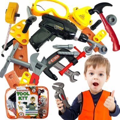 This is an image of a construction tool set for kids.