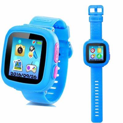 This is an image of a blue smart watch for kids.