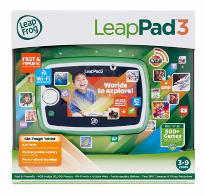 This is an image of a green learning tablet for kids.