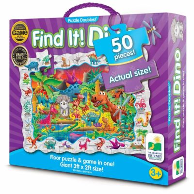 This is an image of a Find It! Dinosaurs puzzle board game.