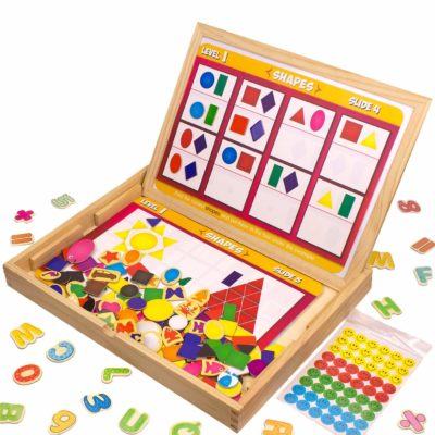 This is an image of a letter. number, shape, color and animal magnetic set for kids.