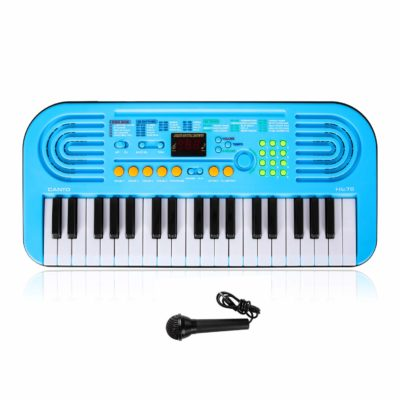 This is an image of a blue 37 keys piano keyboard with microphone for kids.