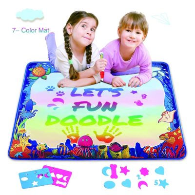 This is an image of a 7 colored drawing mat for kids.