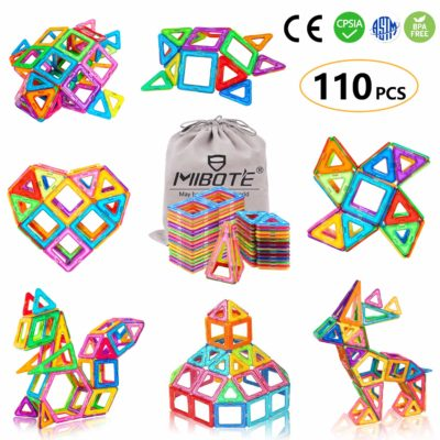 This is an image of a 110 piece colorful building tiles for kids.