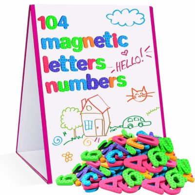 This is an image of a magnetic letters and numbers with easel for kids.