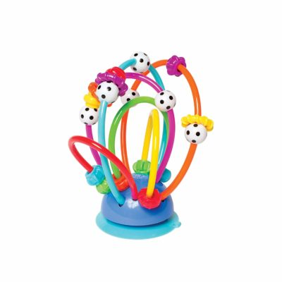 This is an image of a colorful activity loops teether for toddlers.