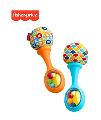 This is an image of a blue and orange maracas rattle toys for babies.