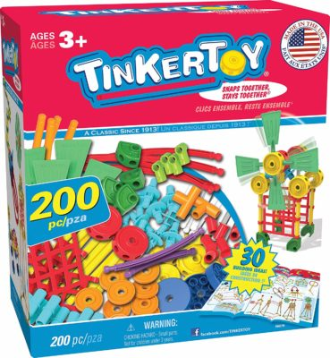 This is an image of a colorful and interactive Tinkertoy for kids.