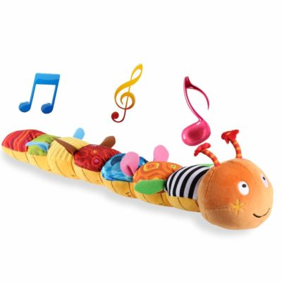 This is an image of a musical caterpillar plush toy for babies.