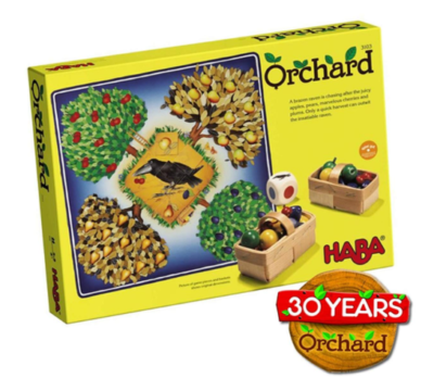 This is an image of a Orchard game by Haba designed for kids.