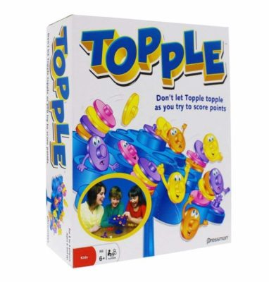 This is an image of a Topple game by Pressman designed for kids.