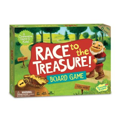 This is an image of a Race to the Treasure adventure board game for kids.
