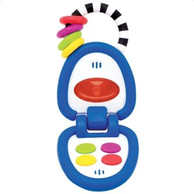 This is an image of a blue flip phone toy for toddlers.