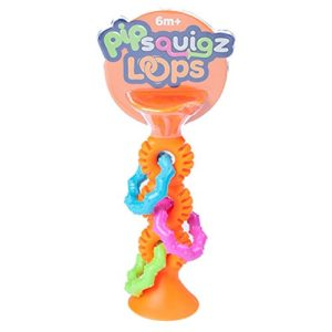 This is an image of an orange silicone pipSquigz toy for toddlers.