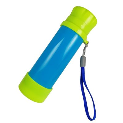 This is an image of a blue and green monocular pocket telescope for kids.
